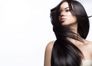 model with beautiful long straight hair