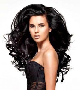 full wavy hair on model