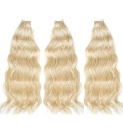 three bundles of tape-in hair