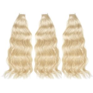 three bundles of tape-in hair